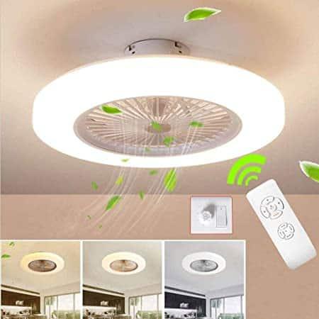 Ventilatore Da Soffitto Invisibile 50W Fan Regolabile Lampada A LED Fan Da Soffitto Con Illuminazione Camera Letto Plafoniera Dimmerabile Con Telecomando Silenzioso Ventilatore Camera Dei Bambin